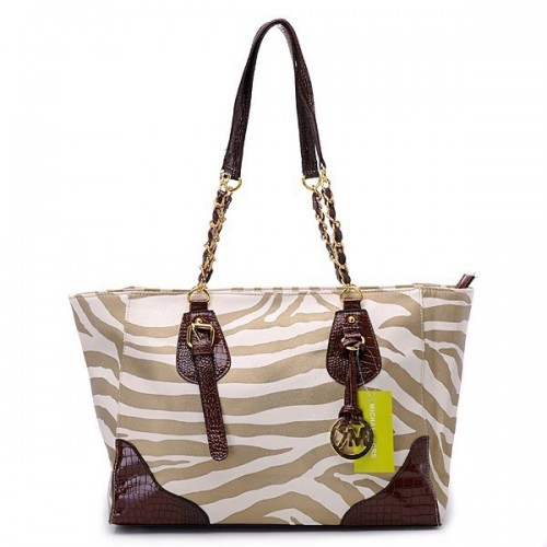 Michael Kors Zebra Chain Large Brown Shoulder Bags