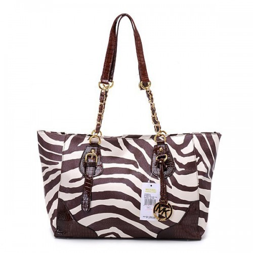 Michael Kors Zebra Chain Large Coffee Shoulder Bags