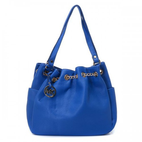 Michael Kors Chain Ring Large Blue Shoulder Bags