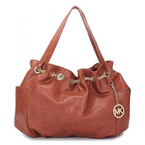Michael Kors Chain Ring Large Brown 005 Shoulder Bags
