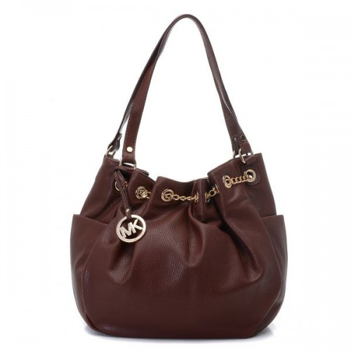 Michael Kors Chain Ring Large Coffee Shoulder Bags