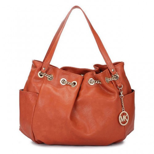 Michael Kors Chain Ring Large Orange 005 Shoulder Bags