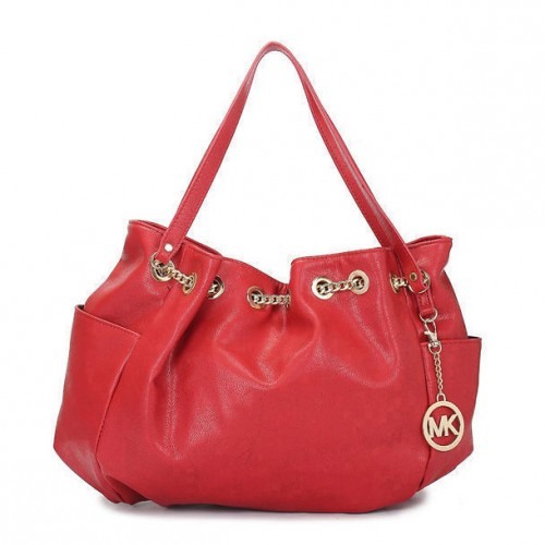 Michael Kors Chain Ring Large Red Shoulder Bags