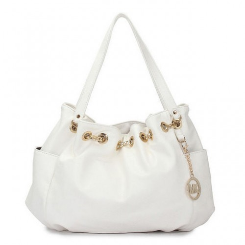 Michael Kors Chain Ring Large White 005 Shoulder Bags