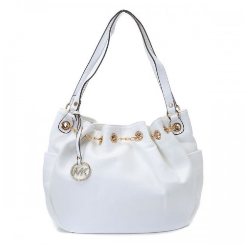 Michael Kors Chain Ring Large White Shoulder Bags