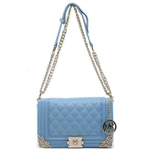 Michael Kors Sloan Chain Large Blue Shoulder Bags