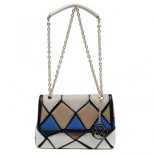 Michael Kors Sloan Large White Multicolor Shoulder Bags