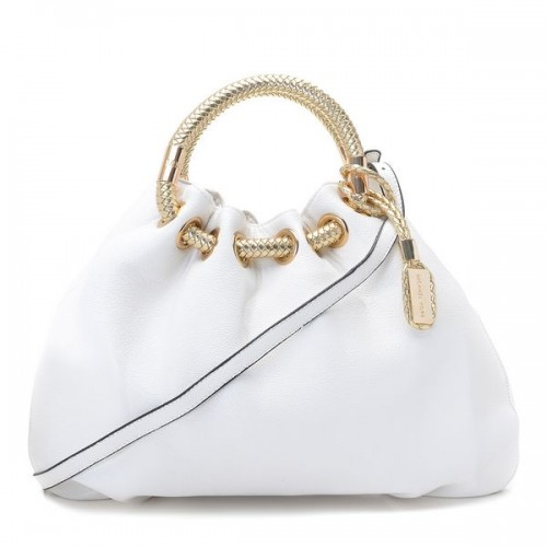 Michael Kors Skorpios Textured Leather Ring Tote White