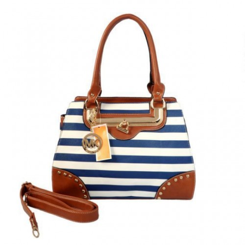 Michael Kors Pyramid Stud Striped Large Blue Totes