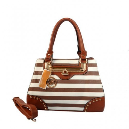 Michael Kors Pyramid Stud Striped Large Brown Totes