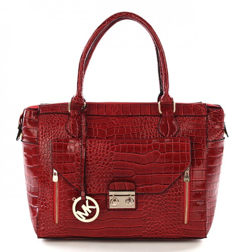 Michael Kors Embossed Medium Red Totes