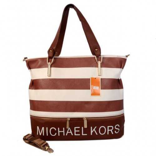 Michael Kors Striped Large Coffee Totes
