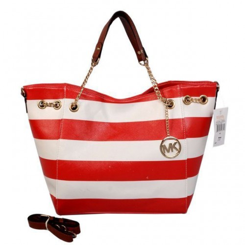 Michael Kors Striped Large Red Totes