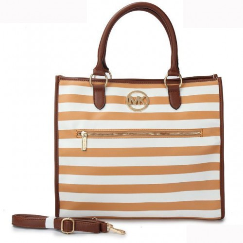 Michael Kors Striped Large Yellow Totes