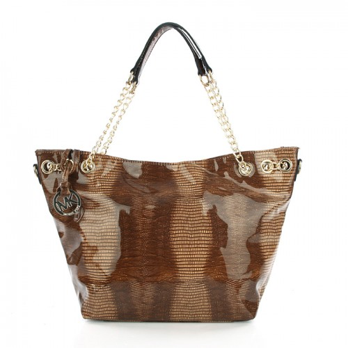 Michael Kors Embossed Chain Large Beige Totes