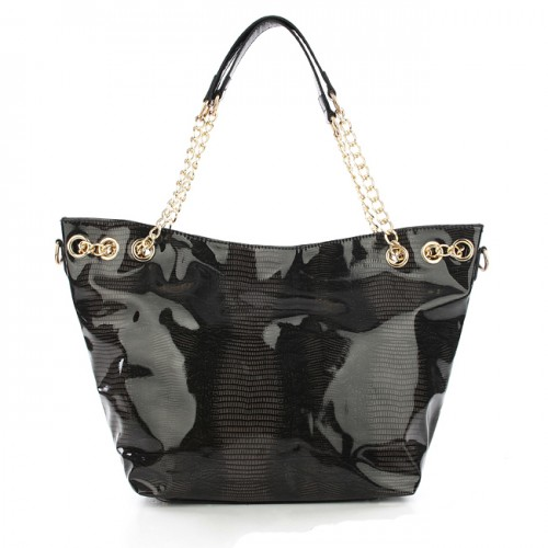 Michael Kors Embossed Chain Large Black Totes