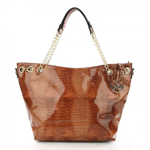 Michael Kors Embossed Chain Large Brown Totes