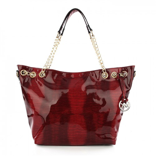 Michael Kors Embossed Chain Large Red ALL Totes