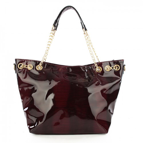 Michael Kors Embossed Chain Large Red Totes