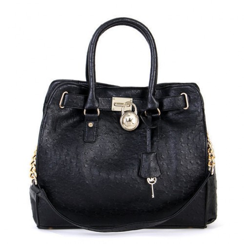 Michael Kors Ostrich-Embossed Large Black Totes