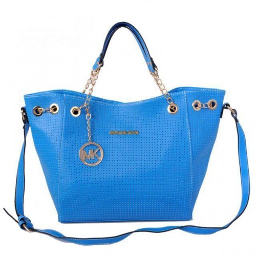 Michael Kors Perforated Chain Large Blue Totes