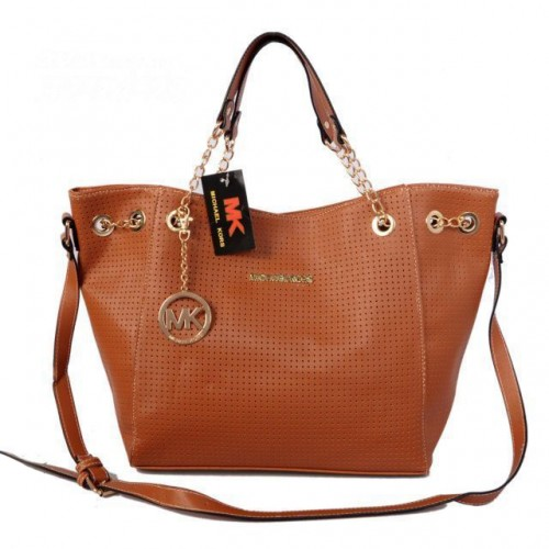 Michael Kors Perforated Chain Large Brown Totes