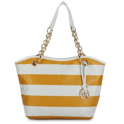 Michael Kors Striped Large Yellow White Totes