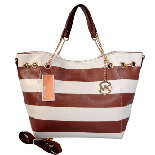 ichael Kors Striped Large Brown Totes