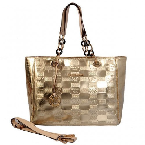 Michael Kors Logo Embossed Leather Large Gold Totes
