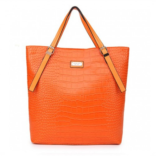 ichael Kors Crocodile-Embossed Large Orange Totes