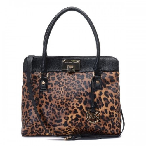 Michael Kors Leopard Large Black Totes