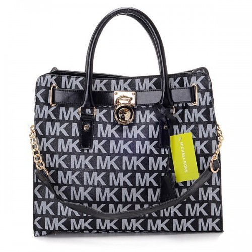 Michael Kors Logo Large Black White Totes