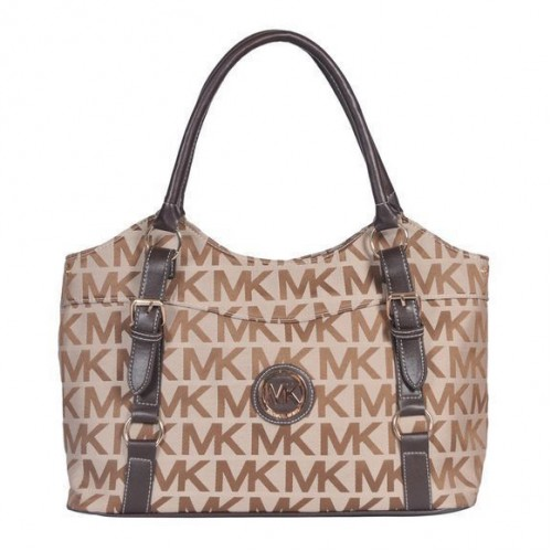 Michael Kors Logo Medium Black Beige Totes