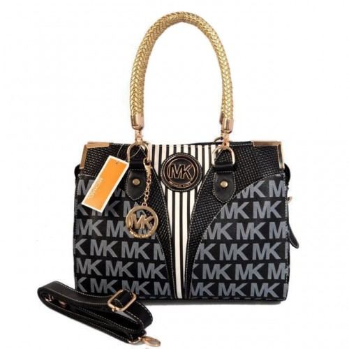 Michael Kors Logo Medium Black Totes