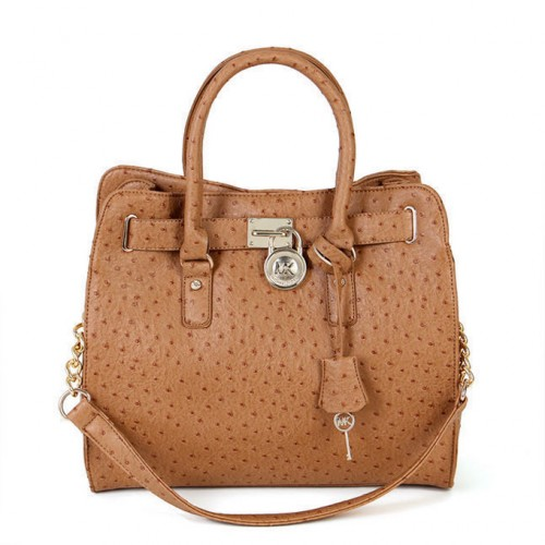 Michael Kors Ostrich-Embossed Large Beige Totes