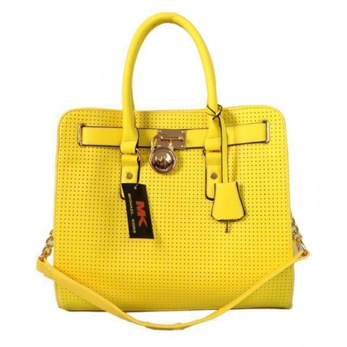 Michael Kors Perforated Large Yellow Totes
