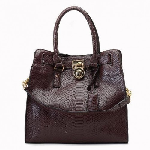 Michael Kors Python Continental Large Coffee Totes