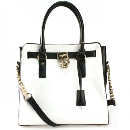 Michael Kors Saffiano Two-Tone Large White Totes