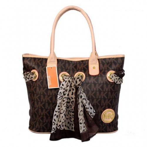 Michael Kors Scarf Jacquard Medium Brown Totes