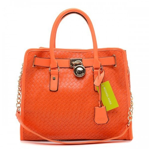 Michael Kors Sloan Quilted Large Orange Totes