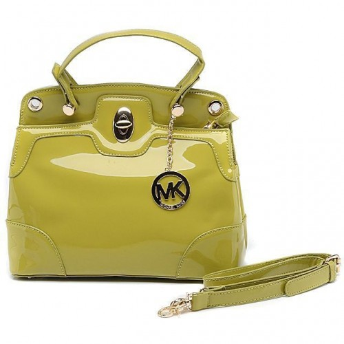Michael Kors Smooth Leather Large Green Totes