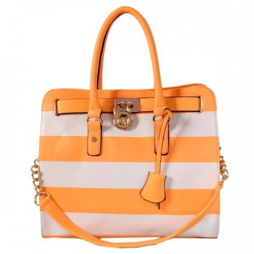 Michael Kors Striped Travel Large Orange Grey Totes