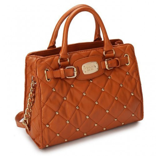 Michael Kors Stud Quilted Large Brown Totes