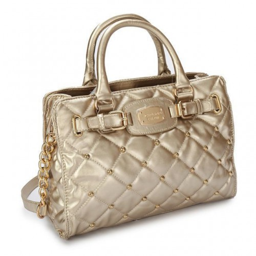 Michael Kors Stud Quilted Large Gold Totes