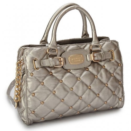 Michael Kors Stud Quilted Large Grey Totes