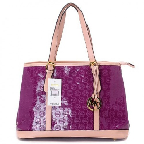 Michael Kors Amangasett Straw Large Purple Totes