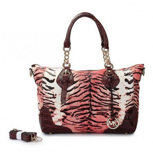 Michael Kors Darwin Tiger Tattoo Leather Large Red Totes