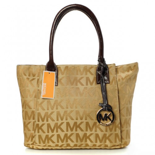 Michael Kors Jet Set Logo Large Tan Totes