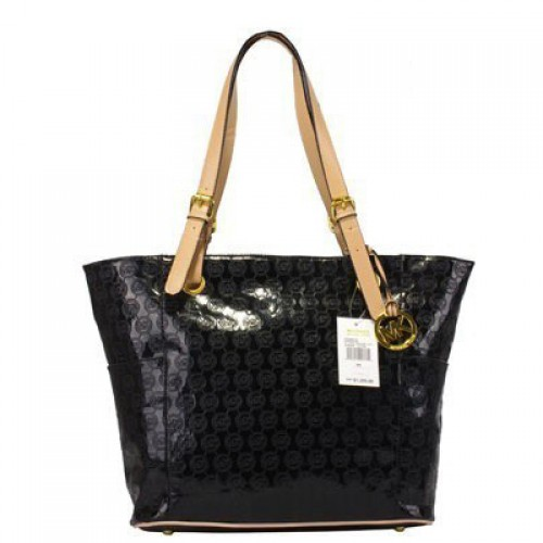 Michael Kors Jet Set Mirror Metallic Large Black Totes
