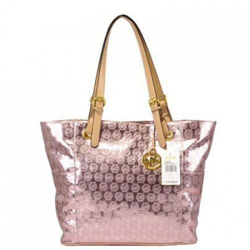 Michael Kors Jet Set Mirror Metallic Large Pink Totes